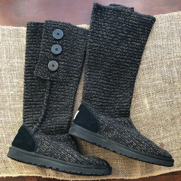 11065414cd2 UGG Shoes | Cardy Black And Gold Knit Boots Size 8 | Poshmark